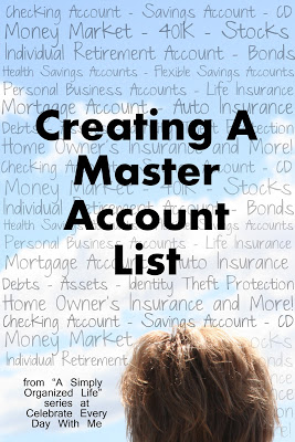 A Simply Organized Life. Creating a Master Account List