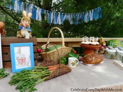 peter rabbit party with fabric banner