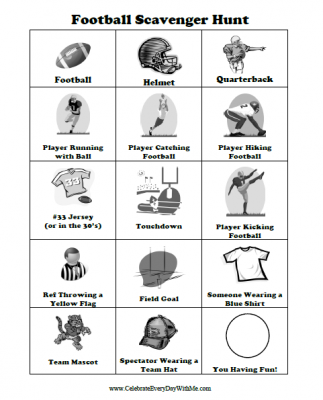 FREE Scavenger Hunt Printable For A Football Game Celebrate Every