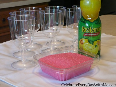 dress up a glass with colored sugar