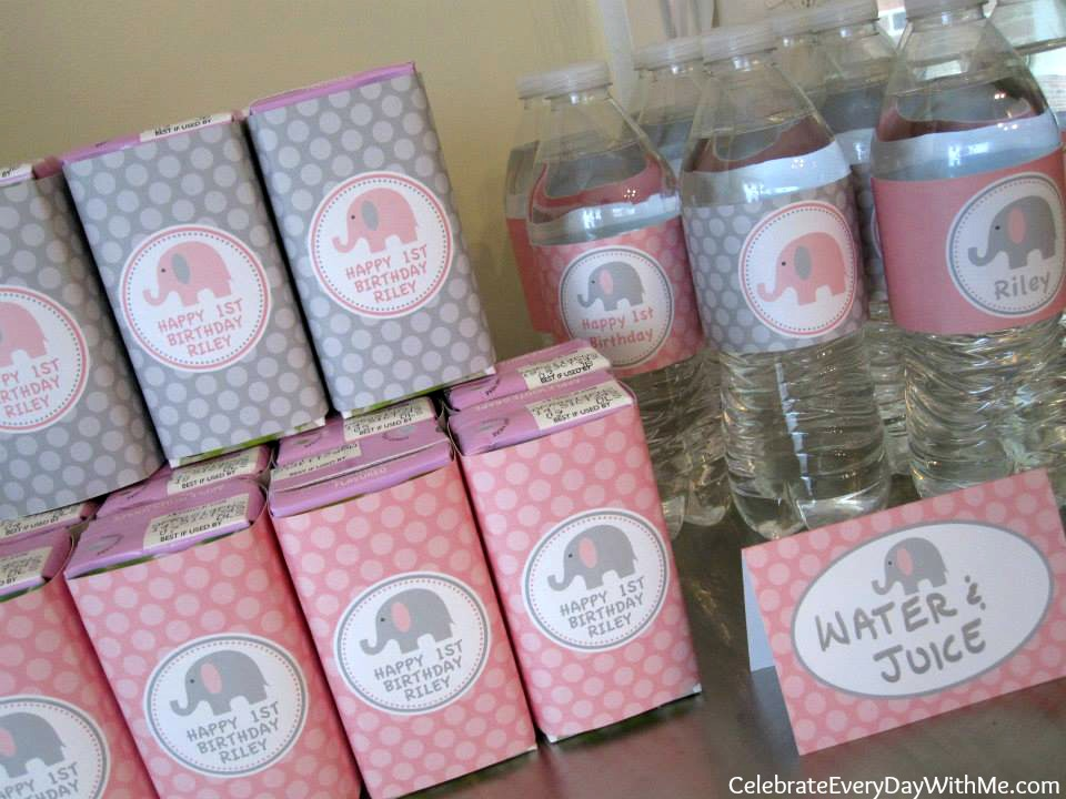 Pink And Gray Elephant Party Celebrate Every Day With Me
