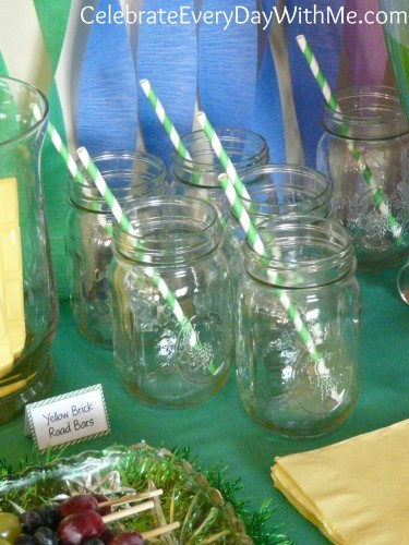 mason jars and striped straws for Wizard of Oz party