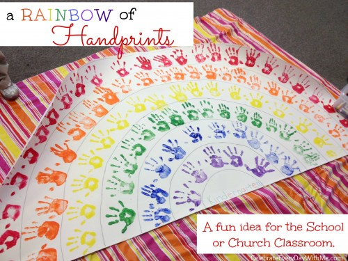rainbow of handprints