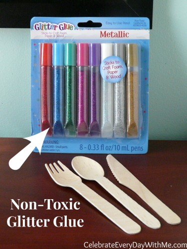 non-toxic glitter glue to decorate your wooden utensils