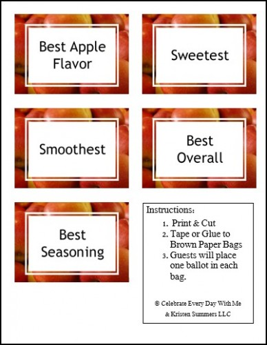 Cider Party Ballot Bag Labels