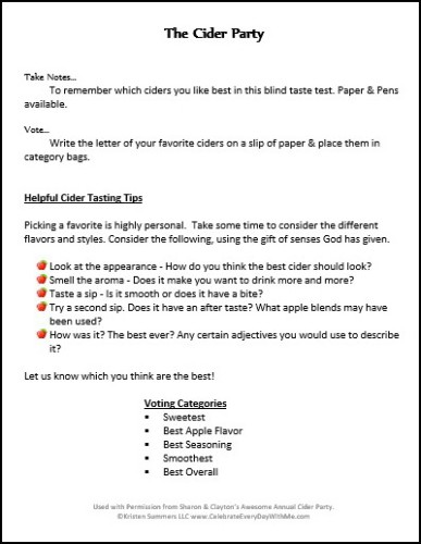 Cider Party Instructions-