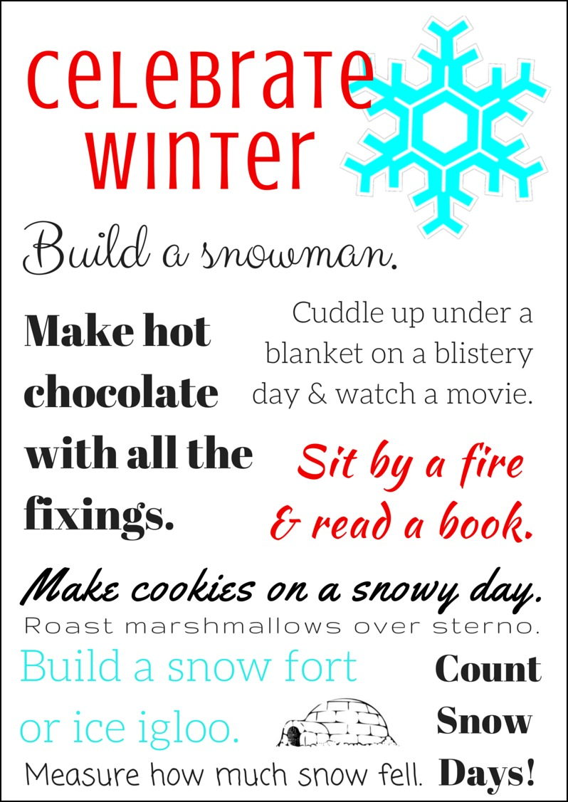 Celebrate Winter* Bucket List Printable | Celebrate Every Day With Me