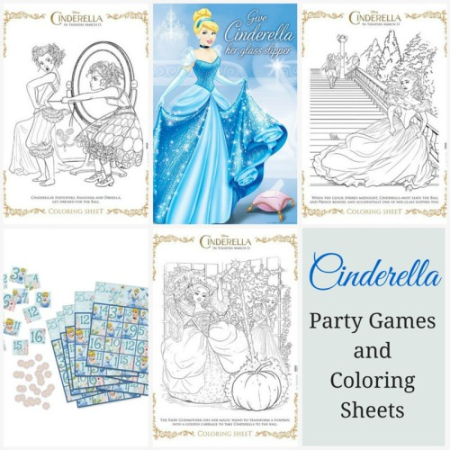 Cinderella Party Games and Coloring Sheets