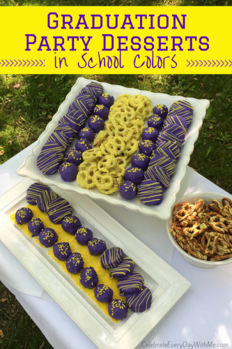 Graduation Party Desserts in School Colors - with Chocoley Chocolate