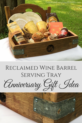 Reclaimed Wine Barrel Serving Tray - Anniversary Gift Idea