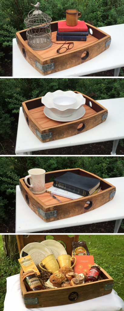 Reclaimed Wine Barrel Wood Serving Tray - so many uses (3)