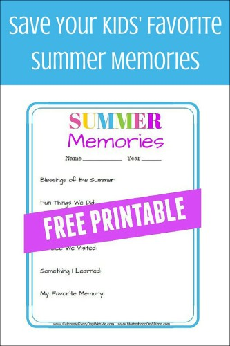 Save Your Kids' Favorite Summer Memories - free printable