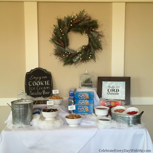 Winter Wonderland Party featuring a Cookie - Ice Cream Sundae Bar 2