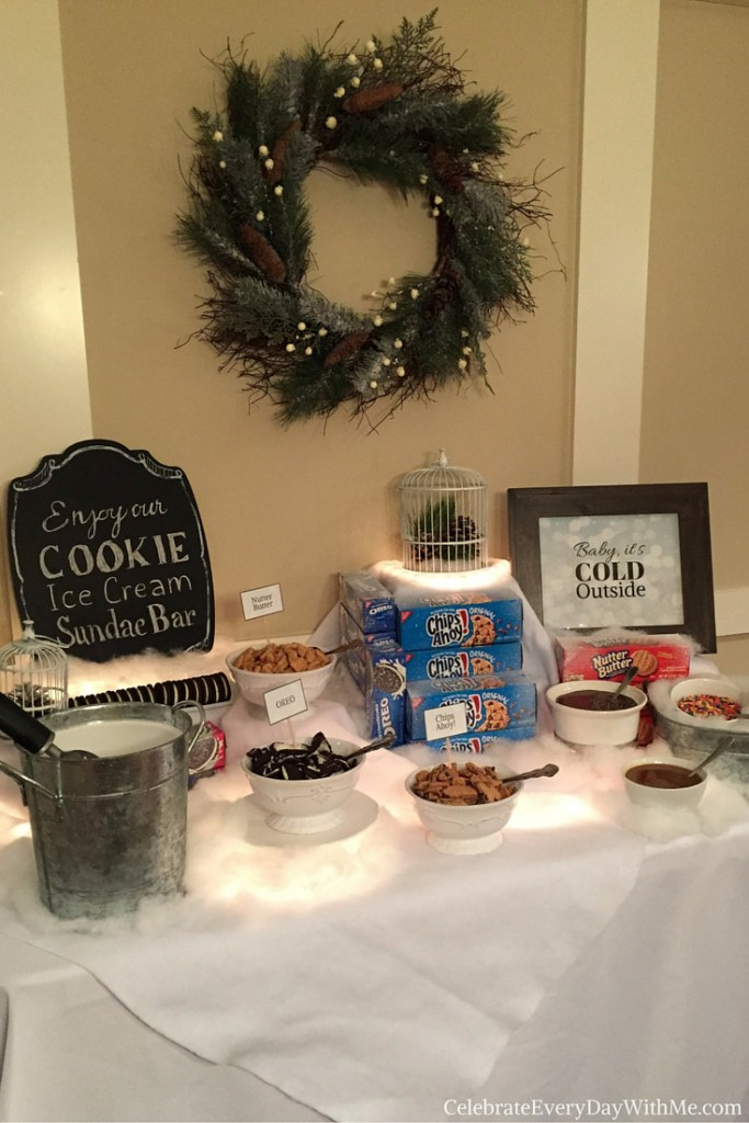 Winter Wonderland Party with Cookie Ice Cream Sundae Bar 17
