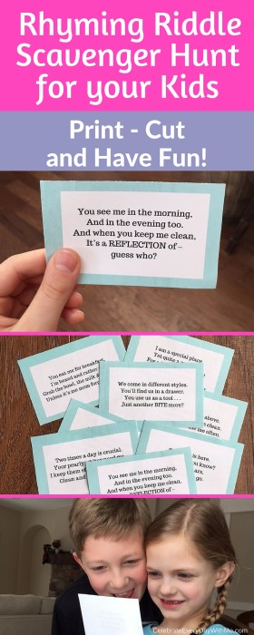 Rhyming Riddle Scavenger Hunt for your kids. Print, cut and have fun!