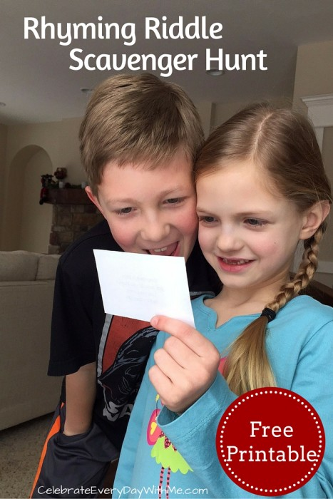 rhyming riddle scavenger hunt clue - free printable