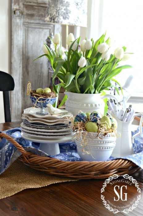 SPRING-KITCHEN-TABLE-VIGNETTE-blue-and-green-spring-vignette-stonegableblog.com_
