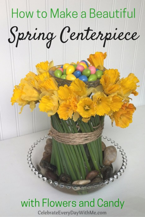 How to Make a Beautiful Spring Centerpiece with Flowers and Candy (19)