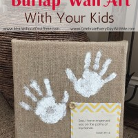 How to Make Burlap Wall Art with Your Kids - Handprints & Bible Verse