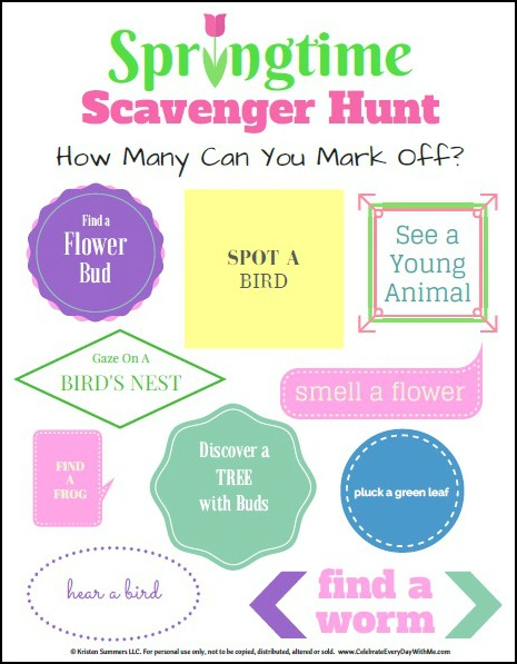 springtime scavenger hunt image with border