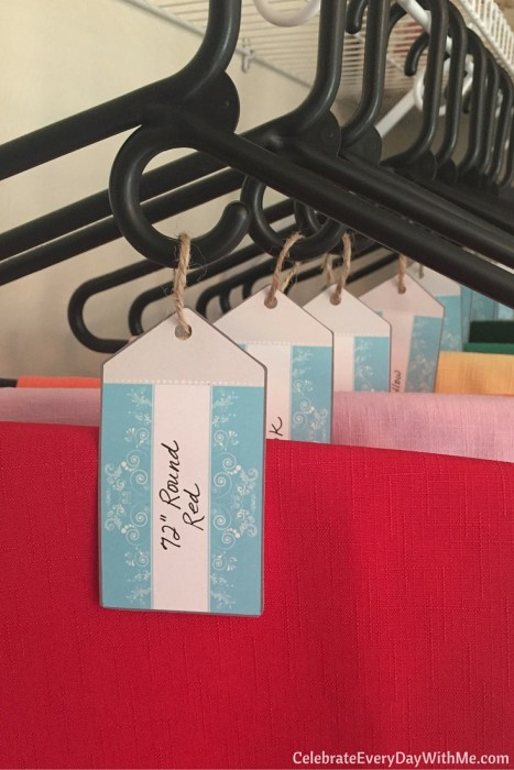 my favorite way to organize tablecloths, simple and labeled (1)