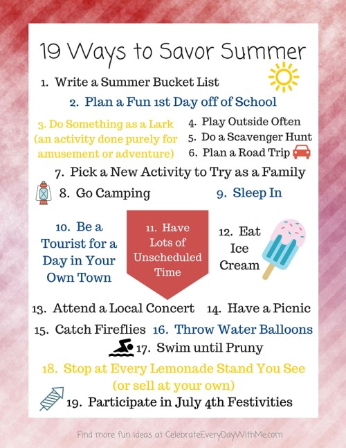 19 Ways to Savor Summer - free printable