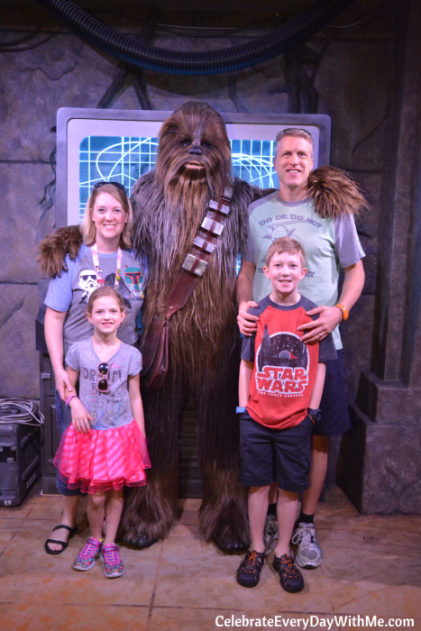meeting chewbacca in the star wars launch bay - disney world