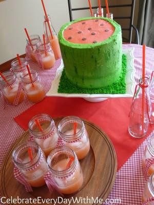 Watermelon Cake and Mason Jar Punch