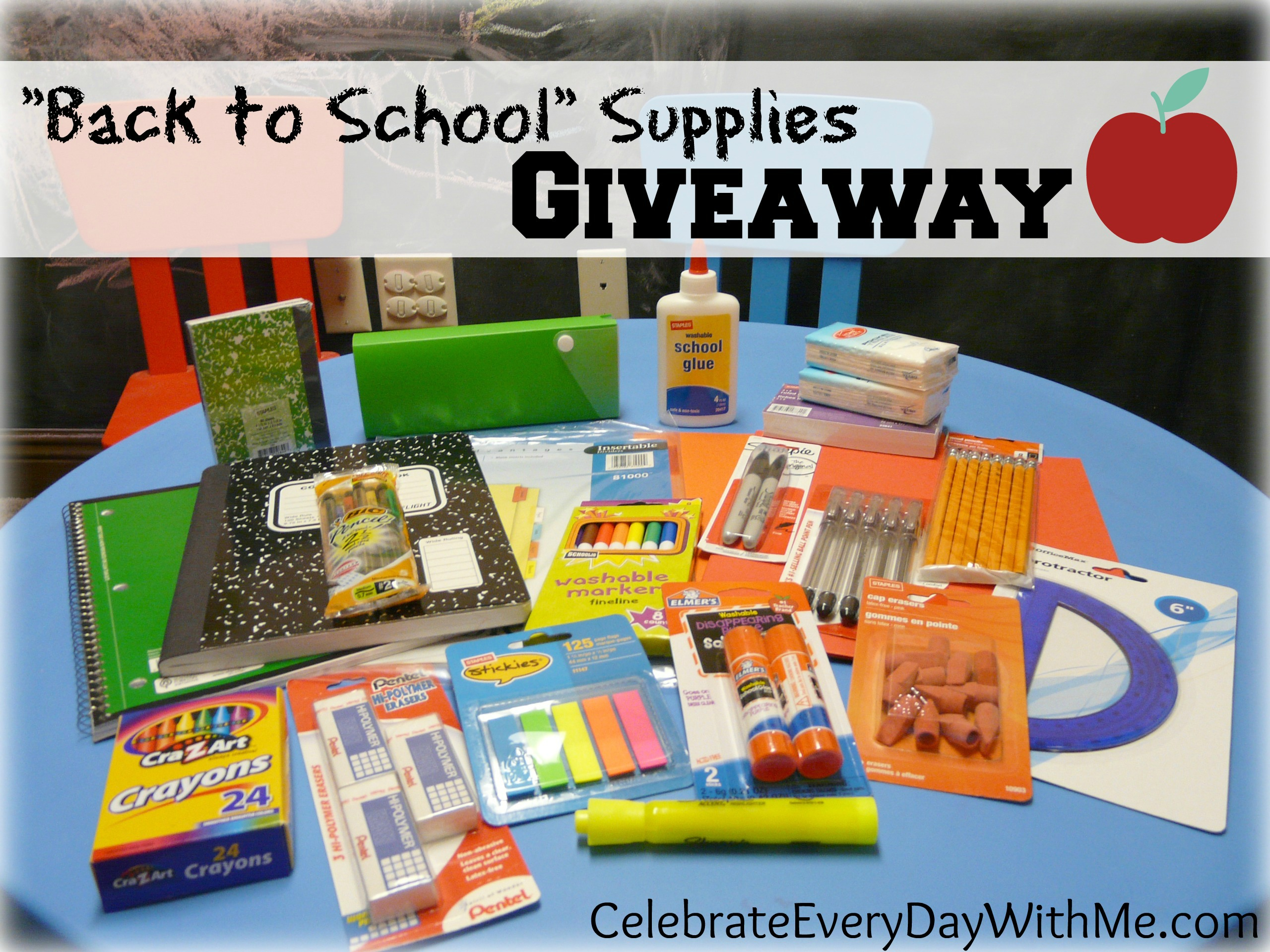 Back to school supplies giveaway celebrate every day for Back to school decoration