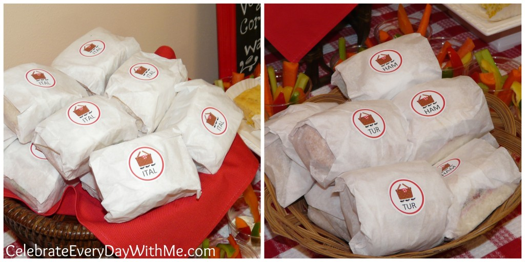 sub sandwiches wrapped for picnic