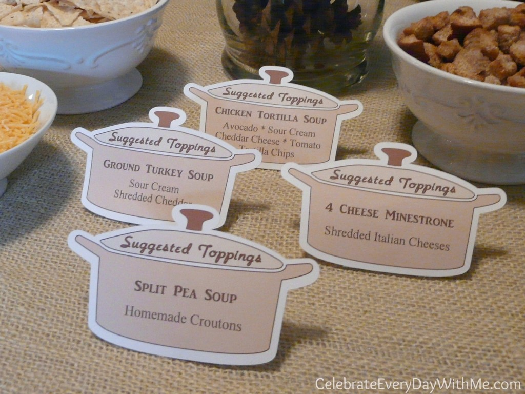 suggested toppings for soup party