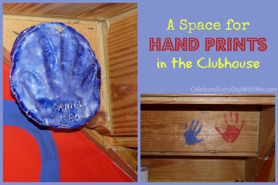 a space for hand prints in the clubhouse