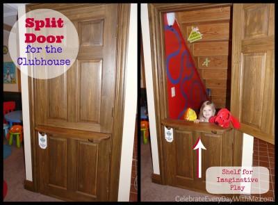 split door for the kids' clubhouse