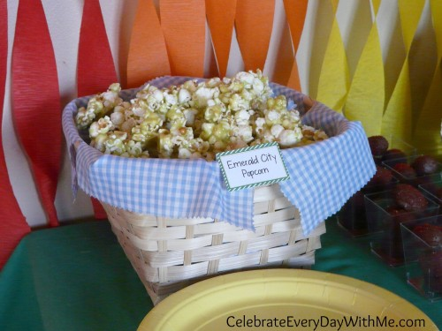 Emerald City Popcorn for Wizard of Oz Party
