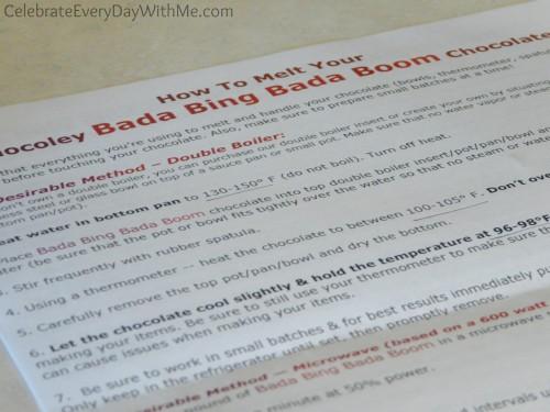 how to melt your Chocoley Bada Bing Bada Boom Chocolate