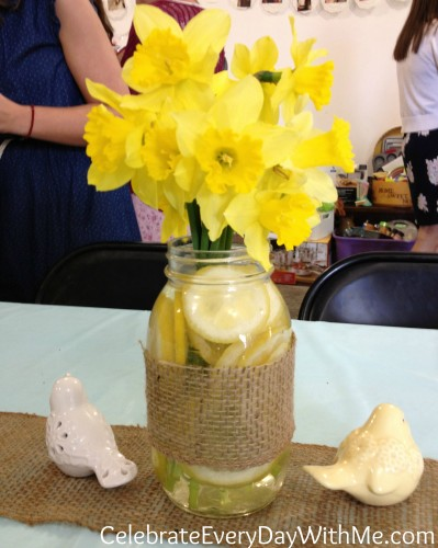 country shower - burlap wrapped jar with lemons and daffodils.  this just makes me happy