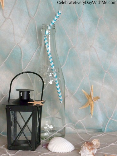 chevron turquoise straw