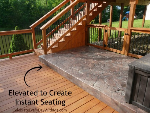 elevated patio to create instant seating