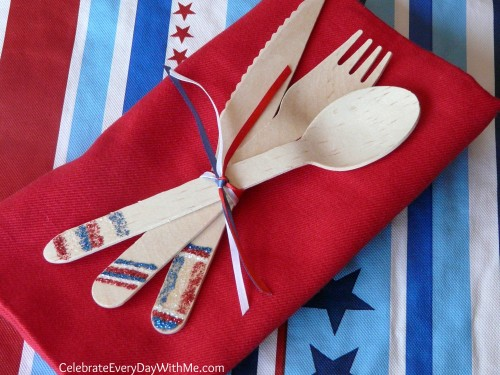 patriotic wooden utensils