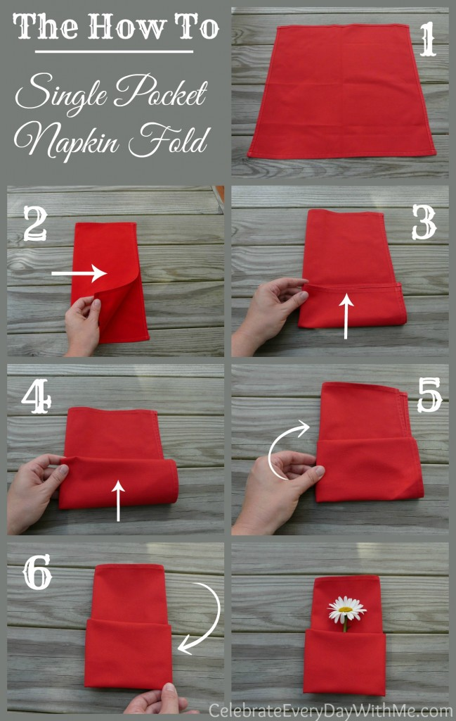 instructions for single pocket napkin fold