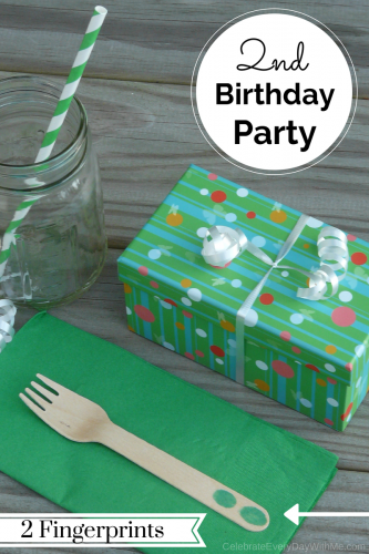 2nd birthday - - add 2 fingerprints to the utensils for a creative touch