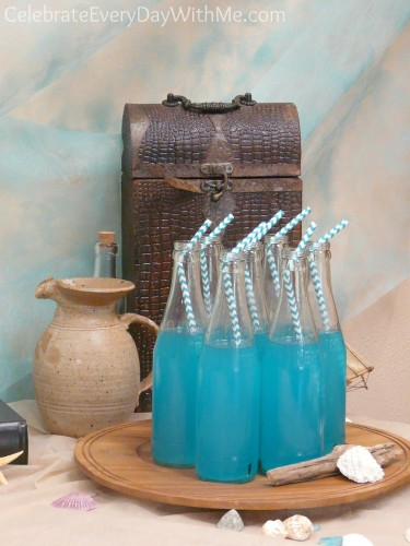Turquoise Drink for a Little Mermaid Party - Love these Chevron Straws!
