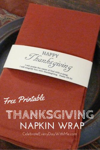 Thanksgiving Printable Napkin Wrap
