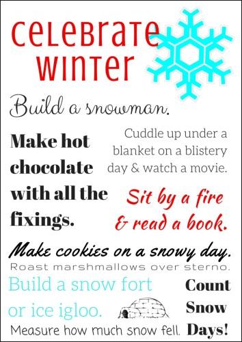 Celebrate Winter Bucket List Printable