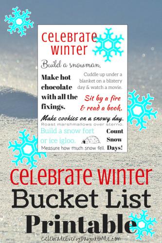 Celebrate Winter Bucket List with Printable
