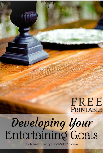 developing your entertaining goals - free printable