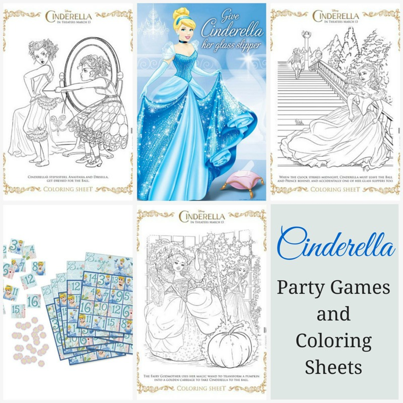 Enchanting collection of cinderella party supplies for Cinderella coloring pages games