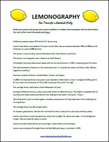 lemonography trivia