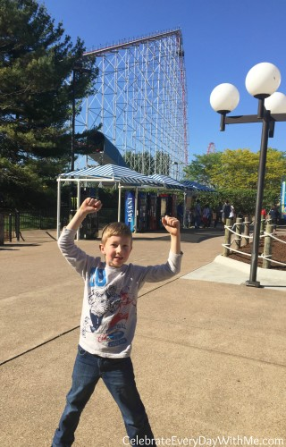 first car on his first ride on the Magnum at Cedar Point