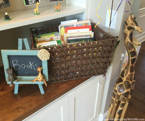 Safari Baby Shower book basket in lieu of cards